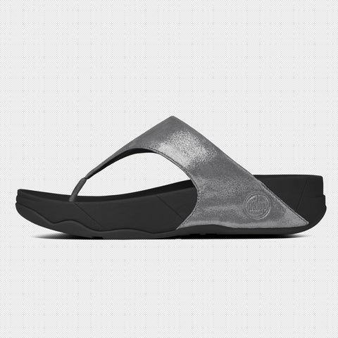 FitFlop™ Women Lulu ShimmerSuede 505 054 Pewter Suede Sandals - Alna Vi Shoes