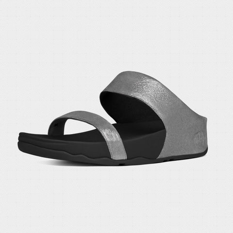 FitFlop? Women Lulu ShimmerSuede Slide 506 054 Pewter LEATHER Sandals - Alna Vi Shoes