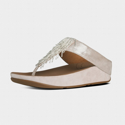 FitFlop™ Women ChaCha 534 011 Silver LEATHER Flip Flops - Alna Vi Shoes