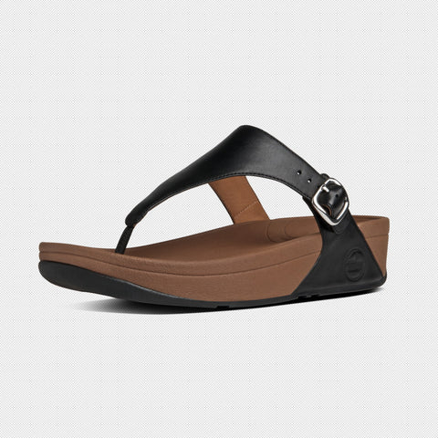 FitFlop? Women Skinny 549 001 Black LEATHER Flip Flops - Alna Vi Shoes