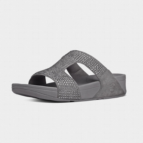 FitFlop? Women Rokkit Slide 558 121 Silver Nova LEATHER Flip Flops - Alna Vi Shoes