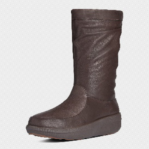 FitFlop? Women Loaff SlouchyKnee Boot 597 030 Chocolate LEATHER Boots - Alna Vi Shoes