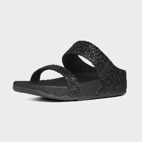 FitFlop? Women Lulu Superglitz Slide 600 001 Black Textile Sandals - Alna Vi Shoes