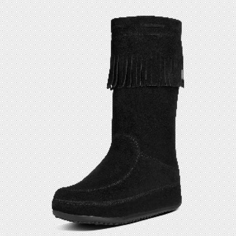FitFlop? Women Mukluk Superfringe 626 090 All Black Suede Boots - Alna Vi Shoes