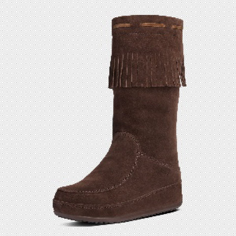 FitFlop? Women Mukluk Superfringe 626 092 Dark Brown Suede Boots - Alna Vi Shoes