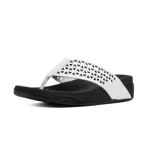 FitFlop™ Women Lattice Surfa A45 194 Urban White LEATHER Sandals - Alna Vi Shoes