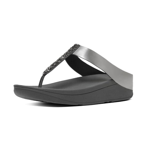 FitFlop™ Fino Toe-Post in Pewter C89054 - Alna Vi Shoes