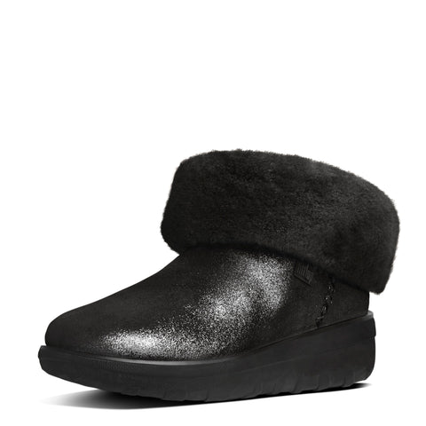 FitFlop™ Women Mukluk Shorty2 Shimmer B95 001 Black Suede Snow Winter Boots - Alna Vi Shoes