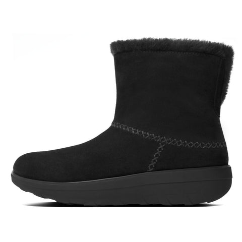 FitFlop™ Women Mukluk Shorty2 B96 090 All Black Suede Boots - Alna Vi Shoes