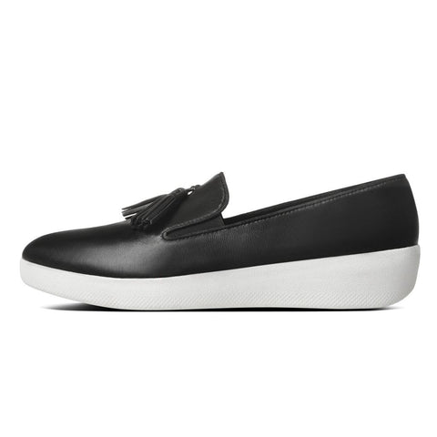 FitFlop™ Women Tassle Superskate C20 001 Black LEATHER Loafers - Alna Vi Shoes