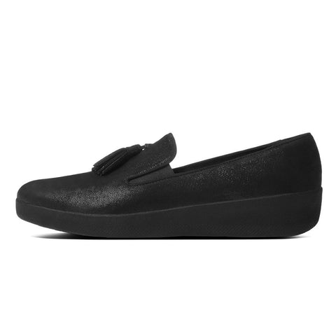 FitFlop™ Women Tassle Superskate C21 403 Black Glimmer LEATHER Pumps - Alna Vi Shoes