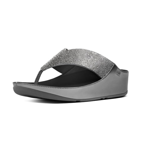 FitFlop? Women Crystall Toepost B36 054 Pewter LEATHER Flip Flops - Alna Vi Shoes