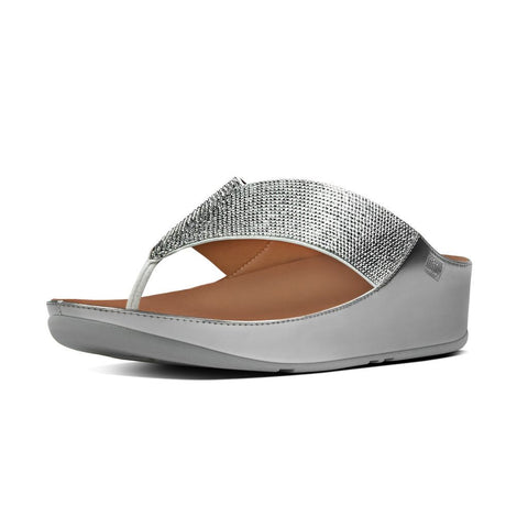 FitFlop? Women Crystall Toepost B36 011 Silver LEATHER Flip Flops - Alna Vi Shoes