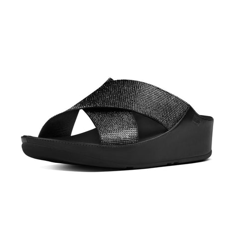 FitFlop? Women Crystall Slide B35 001 Black LEATHER Sandals - Alna Vi Shoes