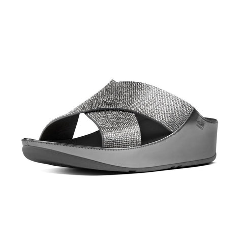 FitFlop? Women Crystall Slide B35 054 Pewter LEATHER Sandals - Alna Vi Shoes