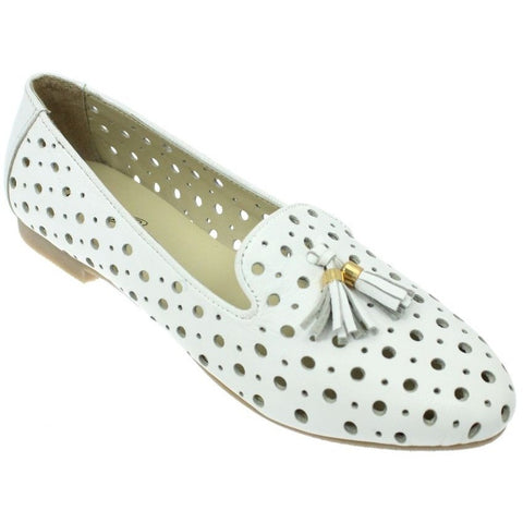 Lunar Women FLH584 Alma White PU Shoes - Alna Vi Shoes