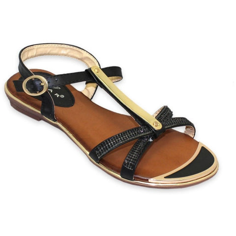 Lunar Women JLH831 Bindi Black PU Sandals - Alna Vi Shoes