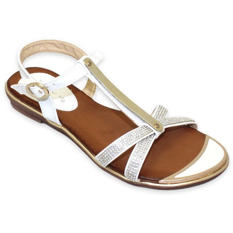 Lunar Women JLH831 Bindi White PU Sandals - Alna Vi Shoes