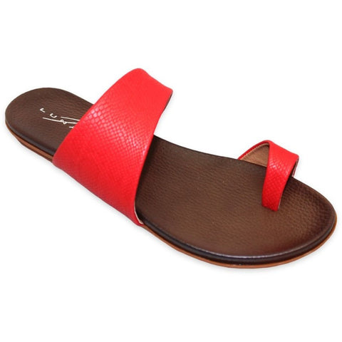 Lunar Women JLH836 Calla Red PU Sandals - Alna Vi Shoes