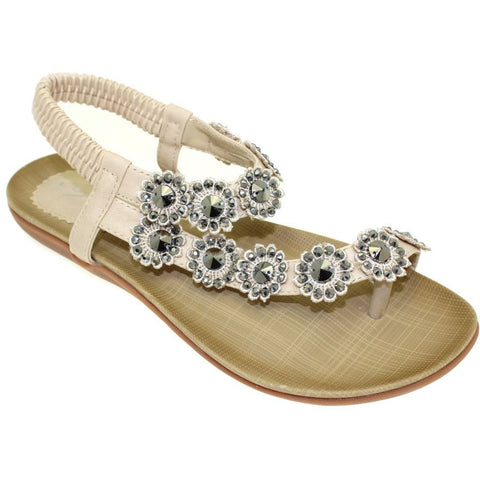 Lunar Women JLH601 Charlotte Beige PU Sandals - Alna Vi Shoes