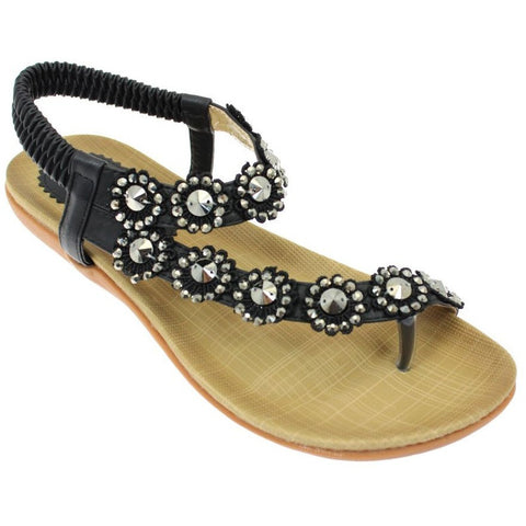 Lunar Women JLH601 Charlotte Black PU Sandals - Alna Vi Shoes