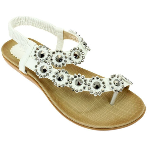 Lunar Women JLH601 Charlotte White PU Sandals - Alna Vi Shoes