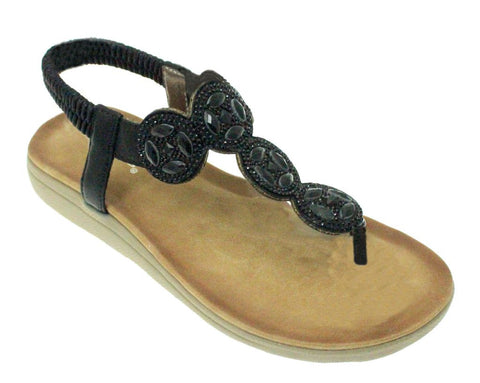 Lunar Women JLH795 Dulcie Black PU Sandals - Alna Vi Shoes