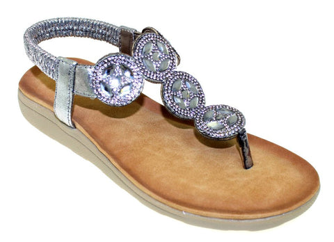 Lunar Women JLH795 Dulcie Silver PU Sandals - Alna Vi Shoes