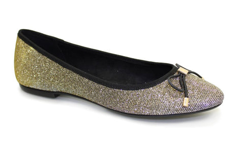 Lunar Women FLE010 Cheers Gold PU Ballet - Alna Vi Shoes