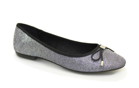 Lunar Women FLE010 Cheers Pewter PU Ballet - Alna Vi Shoes