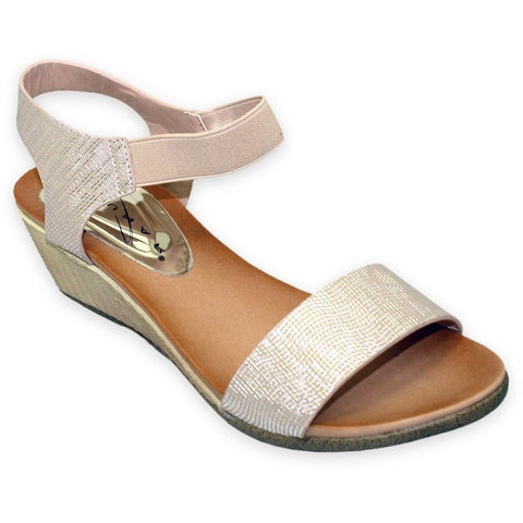Lunar Women JLH809 Imelda Beige PU Sandals - Alna Vi Shoes