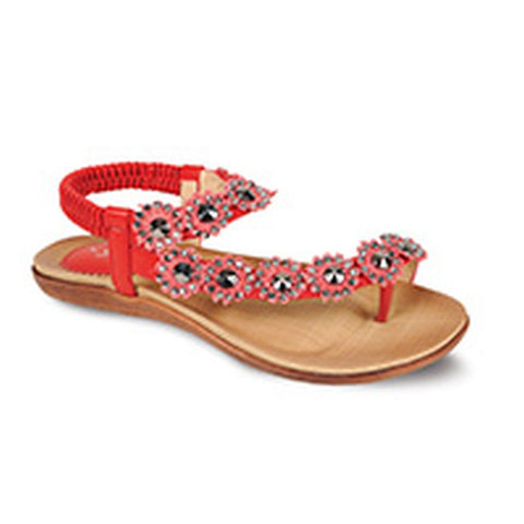 Lunar Women JLH601 Charlotte Red PU Sandals - Alna Vi Shoes
