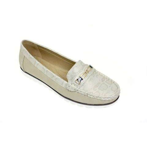 Lunar Women JLY045 Mirren Beige PU Loafers - Alna Vi Shoes