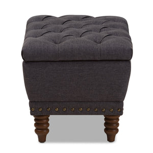 Baxton Studio Annabelle Grey Walnut Wood Button-Tufted Storage Ottoman-Ottomans-HipModernHome