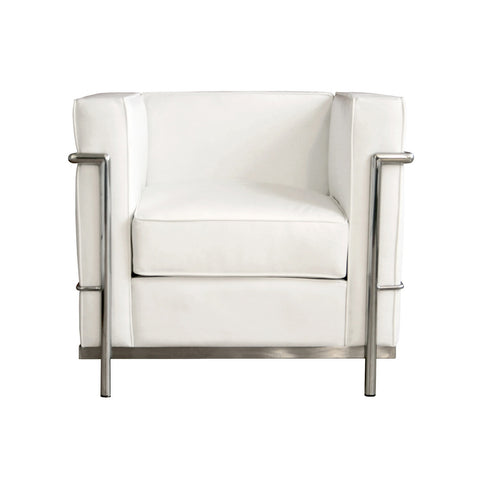 Baxton Studio White Le Corbusier Petite Chair-Accent Chairs-HipModernHome