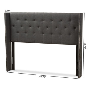 Baxton Studio Ally Grey Button-Tufted Queen Size Winged Headboard-Headboards-HipModernHome