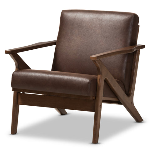 Baxton Studio Bianca Walnut Wood Brown Leather Lounge Chair - 1