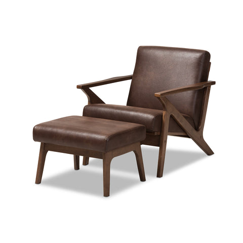 Baxton Studio Bianca Walnut Wood Brown Leather Lounge Chair & Ottoman Set - 1