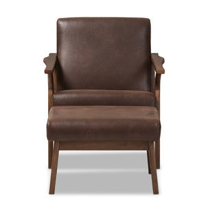 Baxton Studio Bianca Walnut Wood Brown Leather Lounge Chair & Ottoman Set-Chairs-HipModernHome