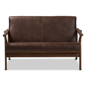 Baxton Studio Bianca Walnut Wood Brown Leather 2-Seater Loveseat-Sofas-HipModernHome
