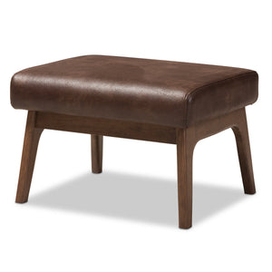 Baxton Studio Bianca Walnut Wood Brown Leather Ottoman-Ottomans-HipModernHome