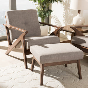 Baxton Studio Bianca Walnut Wood Light Grey Tufted Lounge Chair & Ottoman Set-Chairs-HipModernHome
