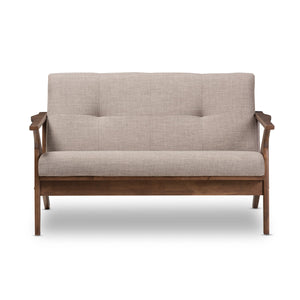 Baxton Studio Bianca Walnut Wood Light Grey Tufted 2-Seater Loveseat-Sofas-HipModernHome