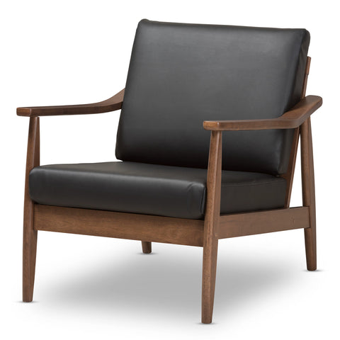 Baxton Studio Venza Walnut Wood Black Leather Lounge Chair - 1