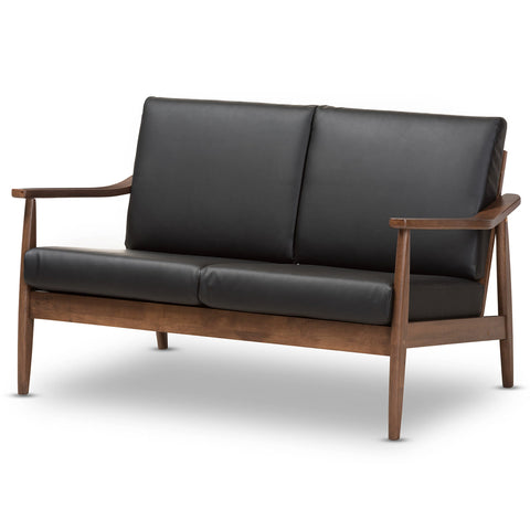 Baxton Studio Venza Walnut Wood Black Leather 2-Seater Loveseat - 1