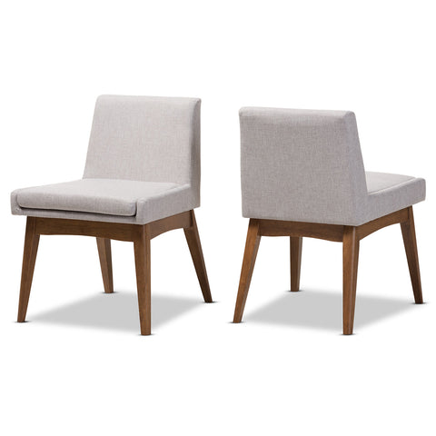 Baxton Studio Nexus Walnut Wood Greyish Beige Dining Side Chair - Set of 2 - 1