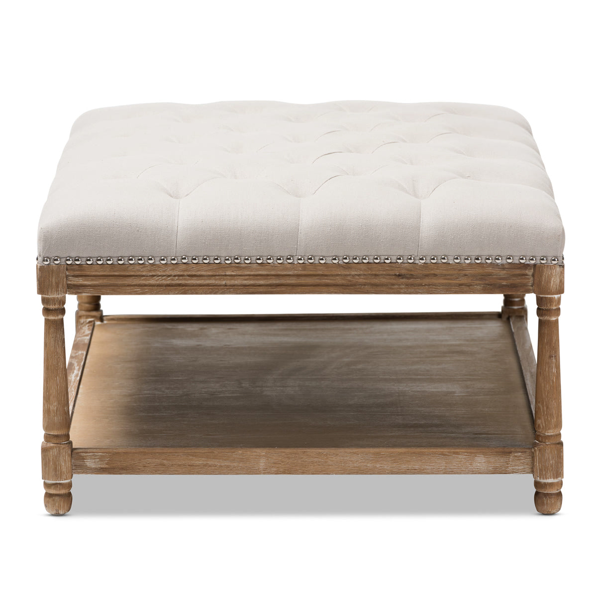 ... Baxton Studio Carlotta Oak Beige Linen Rectangular Coffee Table Ottoman    3 ...
