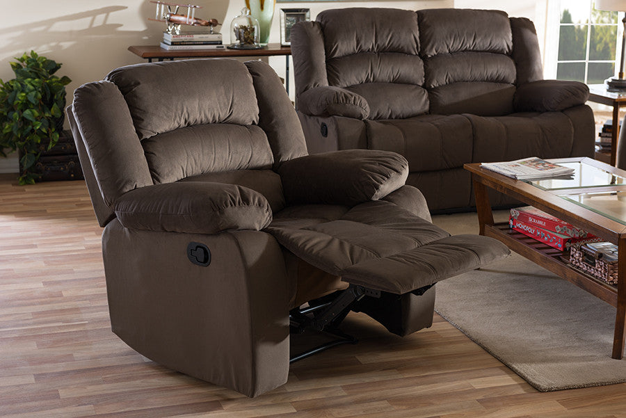 Attrayant Baxton Studio Hollace Modern And Contemporary Taupe Microsuede 1 Seater  Recliner