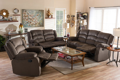 Baxton Studio Hollace Modern and Contemporary Taupe Microsuede Sofa Loveseat and Chair Set with 5 Recliners Living room Set