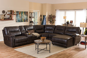 Baxton Studio Mistral Dark Brown Bonded Leather 6-Piece Sectional w/ Recliners Corner Lounge Suite-Recliner Chairs-HipModernHome